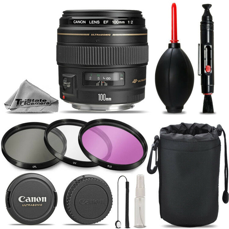 Canon EF 100mm f/2 USM Lens - Must Have Essentials Kit for Canon EF