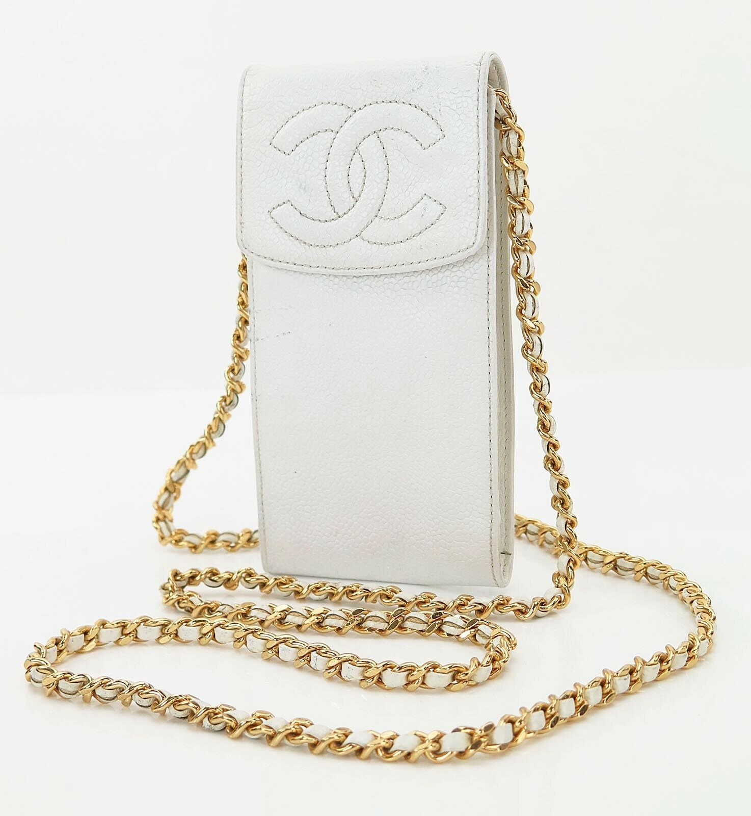 Authentic CHANEL White Caviar Leather Gold Chain Shoulder Bag Pouch #27333