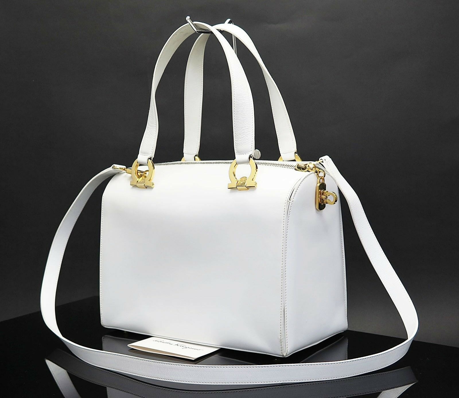 Auth SALVATORE FERRAGAMO Gancini White Leather 2-Way Shoulder Hand Bag #27583