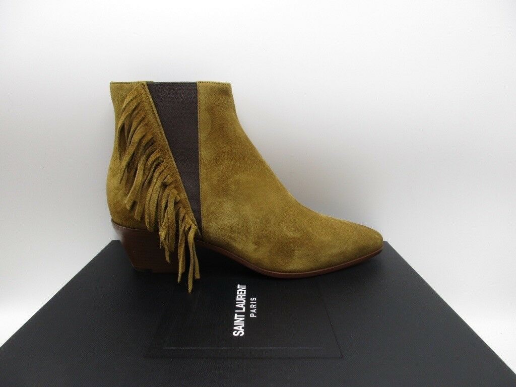 Yves Saint Laurent Rock 40 Chelsea Fringe Ankle Boots Booties $1195 38.5 8.5