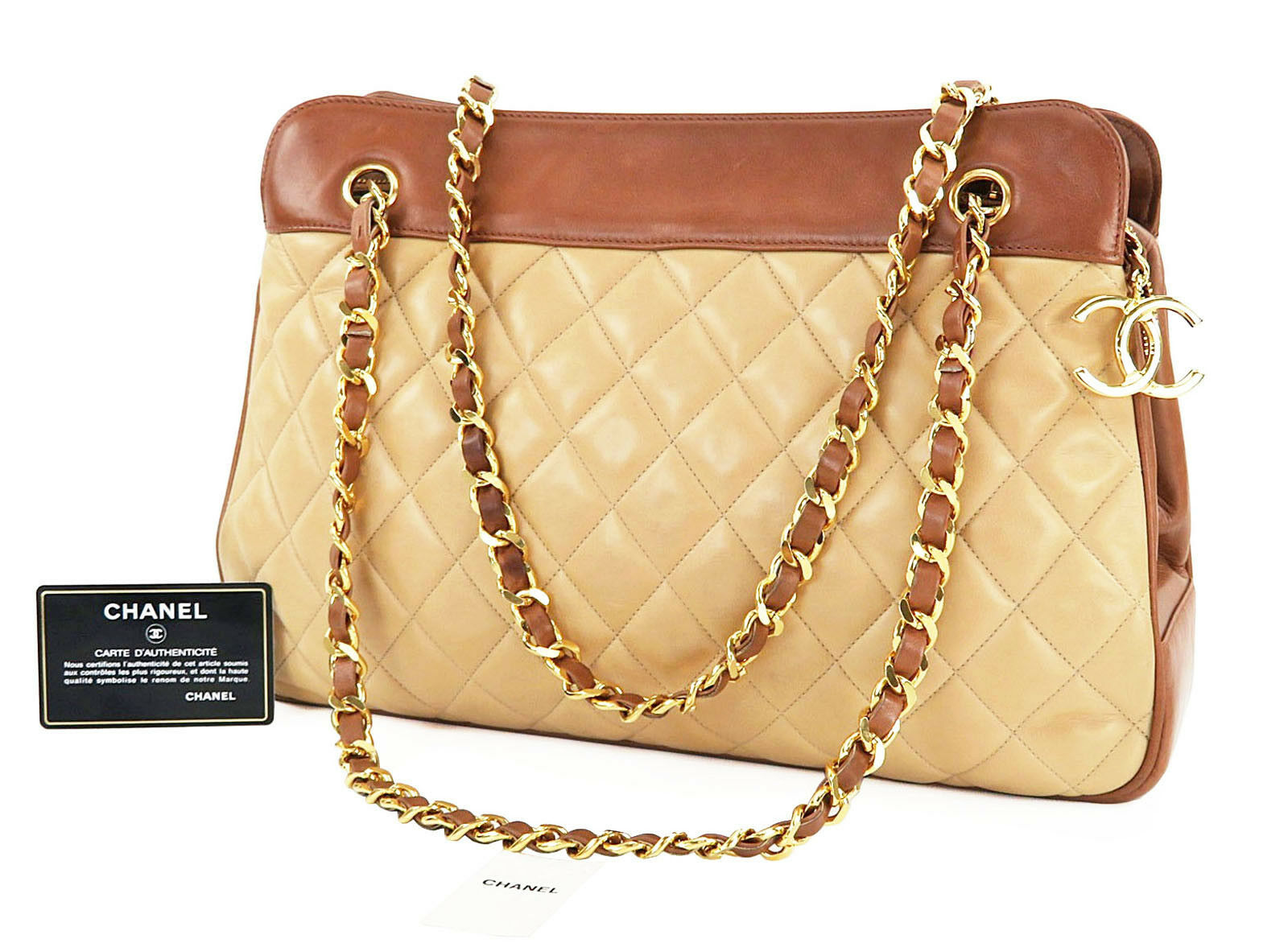 Authentic CHANEL Beige Lambskin Leather Gold Chain Tote Shoulder Bag #27888