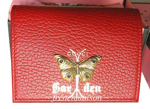 AUTHENTIC GUCCI Garden Gold Red Moth WALLET Florence Italy Gift + Bag + Box New