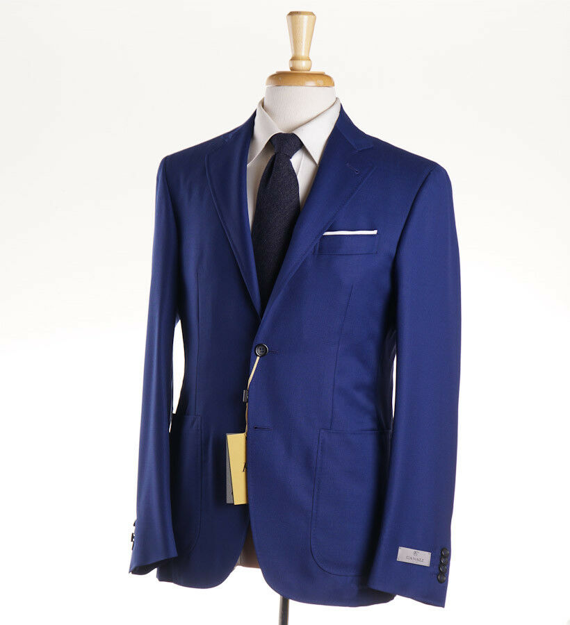 NWT $2195 CANALI 1934 Royal Blue Woven Travel Wool 'Kei' Suit Slim 44 R (Eu 54)