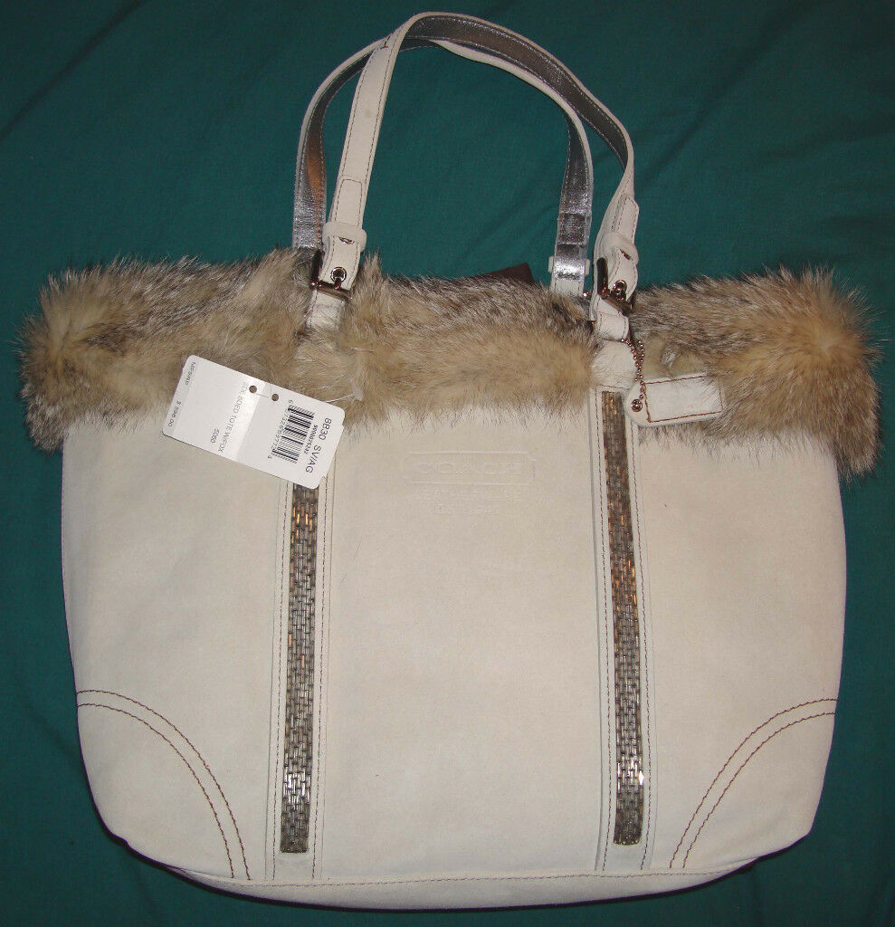 Coach ANGORA SUEDE BEADED TOTE WITH FUR HANDBAG BRAND NEW !!