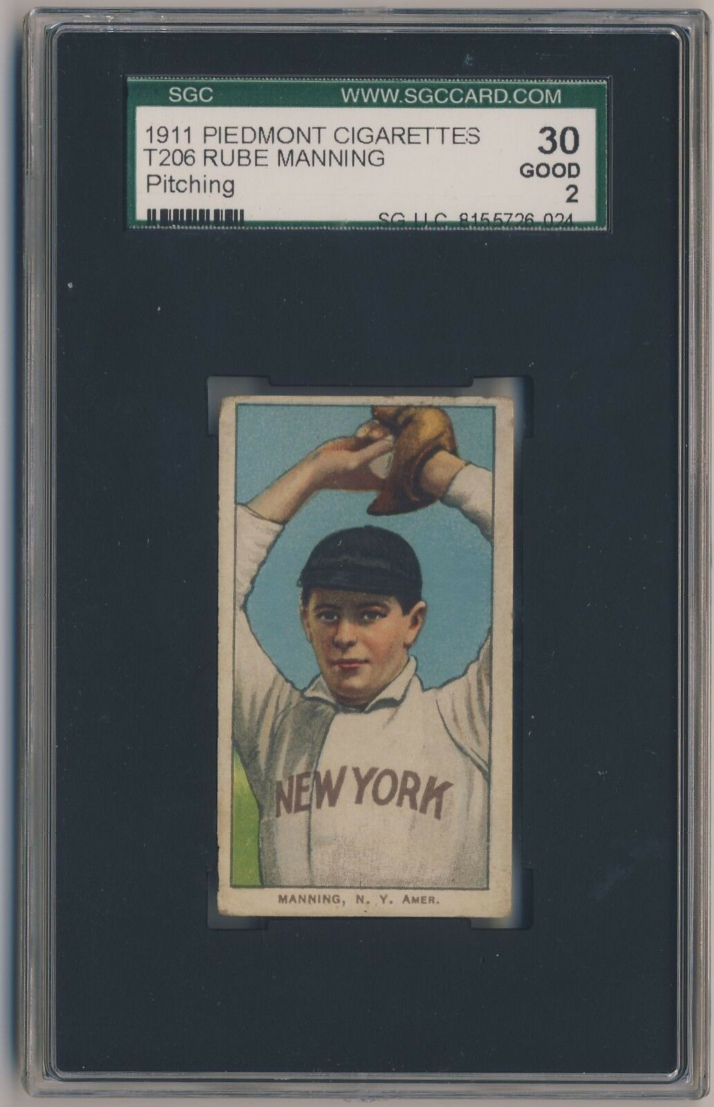 RUBE MANNING 1909-11 T206 Piedmont 350-460 Factory 42 Tobacco SGC 30 2 RARE BACK