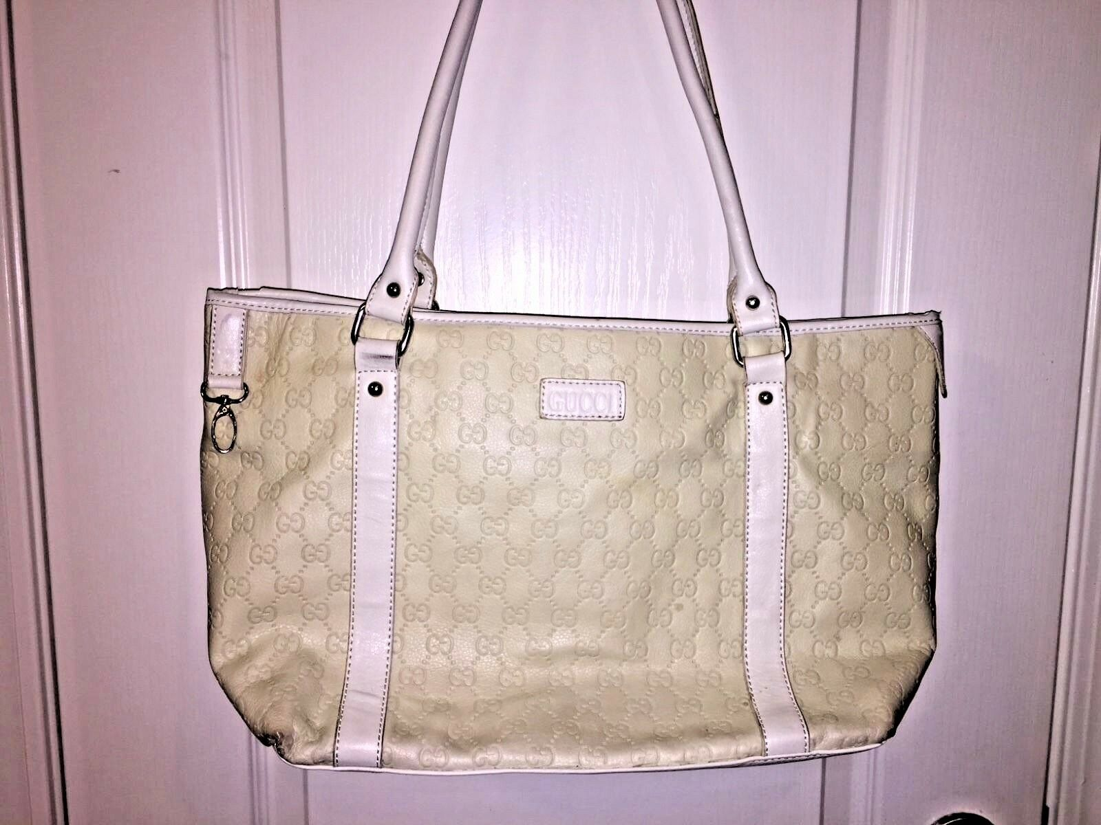 GUCCI GUCCISIMA LRG.OFF-WHITE/BEIGE LEATHER GG LOGO TOTE SHOULDERBAG MSRP $1,825