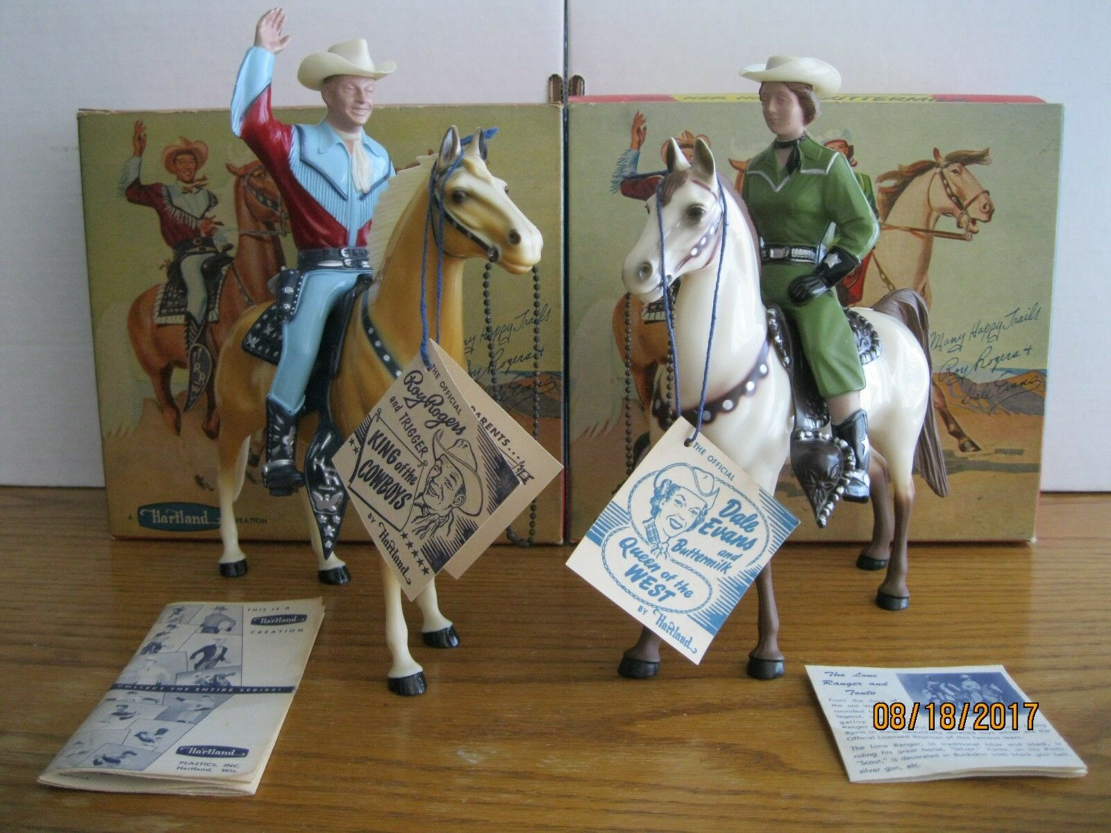 VINTAGE 1950's HARTLAND EARLY ROY ROGERS DALE EVANS w/ORIGINAL BOXES AND TAGS!