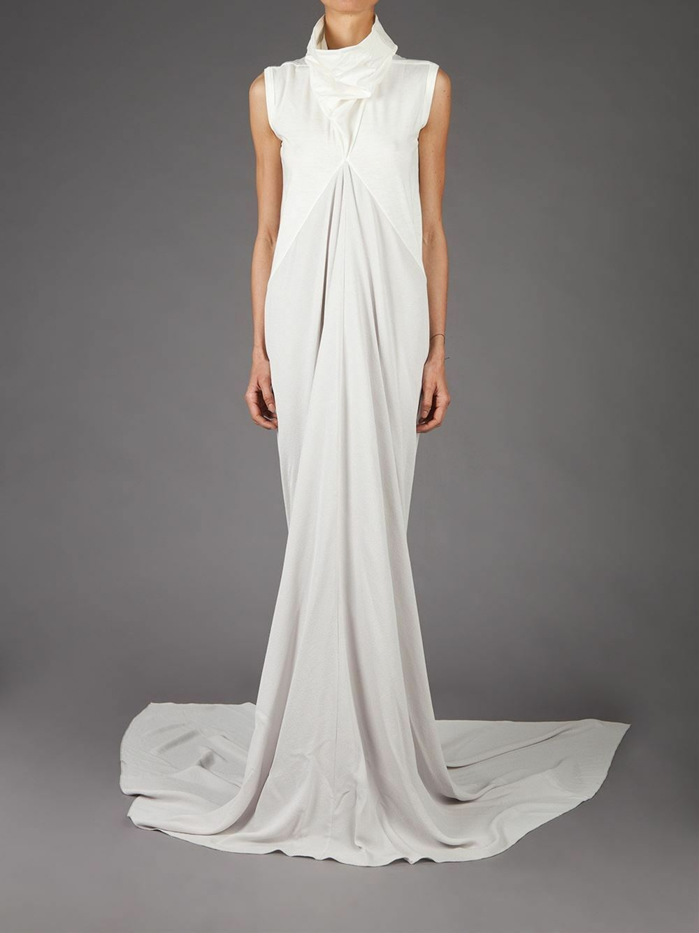 RICK OWENS $2,150 full-length maxi mermaid train wedding gown Naska dress 40 NEW