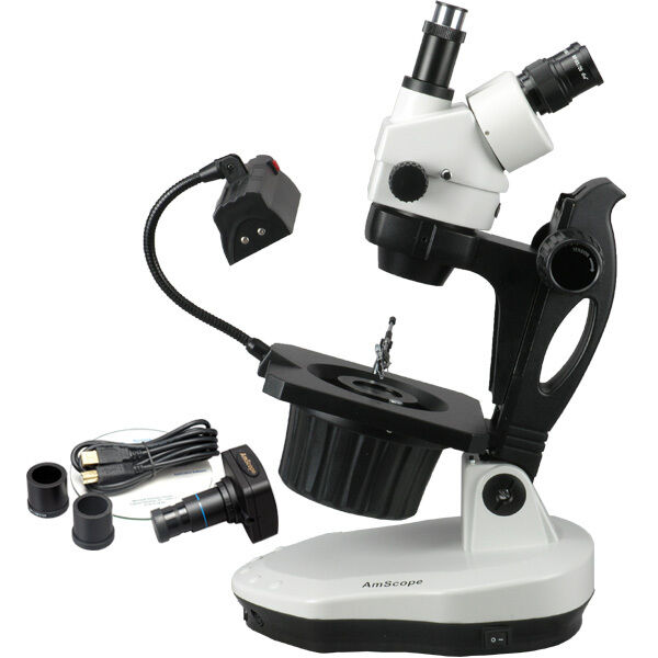 AmScope 3.5X-90X Advanced Jewel Gem Microscope + 10MP Digital Camera