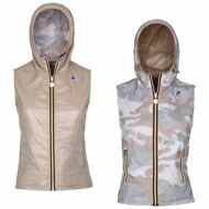 K-WAY LISE PLUS DOUBLE CAMO GILET DONNA Leggero reverse KWAY CAPPUCCIO New 908rp