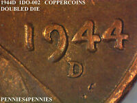 1944D 1DO-002 COPPERCOINS / DOUBLE DIE / WHEAT CENT / RAW   1049