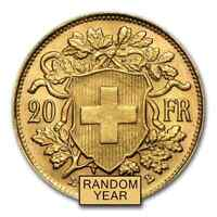 SWISS GOLD 20 FRANCS HELVETIA ALMOST UNCIRCULATED AU  RANDOM YEAR    SKU 19