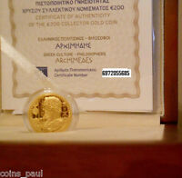 GREECE 200 EURO 2015 ARCHIMEDES GOLD PROOF  ONLY  750 PIECES BOX CERTIFICATE