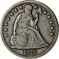 1872 S LIBERTY SEATED SILVER DOLLAR. FINE 12 PCGS.