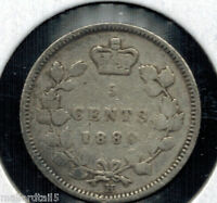 1880 H CANADA QUEEN VICTORIA SILVER 5 CENTS .925  SILVER 145 YEAR OLD COIN KM 2