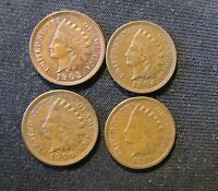 LOT OF 4 INDIAN HEAD CENTS   1902 1904 1906 1909