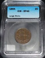 1864 US TWO CENT CENT   ICG EF 40