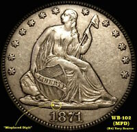 1871 LIBERTY SEATED HALF DOLLAR   MPD WB 102  XF