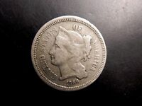1866 3 THREE CENT NICKEL PIECE COIN FINE BUY IT NOW OR MAKE OFFER