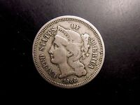 1866 3 THREE CENT NICKEL PIECE COIN XF BUY IT NOW OR MAKE OFFER