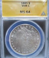 1885 MORGAN SILVER DOLLAR VAM 1 ANACS CERTIFIED MINT STATE 64 LOT 286A