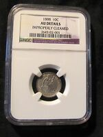 1888 SEATED LIBERTY SILVER DIME NGC AU DETAILS CLEANED