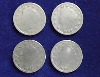 LOT OF 4 LIBERTY HEAD V NICKEL 1901 1902 1903 1904