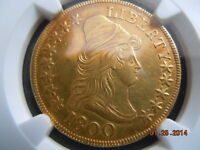 1800 DRAPED BUST 10.00 GOLD EAGLE NGC AU58  LOW MINTAGE OF 5900 BEAUTIFUL COIN