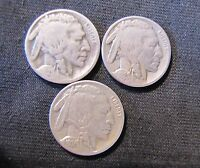 LOT OF 3 BUFFALO NICKEL 5 CENTS COINS   1929 S 1936 S