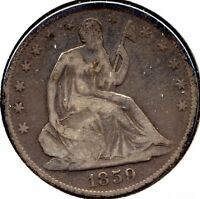 1859O SEATED LIBERTY US SILVER HALF DOLLAR GRADES VG