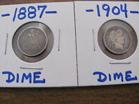 1887 SEATED LIBERTY DIME SILVER   1904 BARBER DIME SILVER