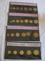 LOT OF 4 PERVUIAN COIN SETS PERU MOSTLY 1960S AND 1970S COINS