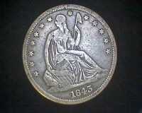 1843 O SEATED LIBERTY HALF DOLLAR VF/XF
