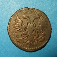 POLUSHKA 1730 OVERSTRIKE FROM KOPEK OF MOSCOW COIN RUSSIAN EMPIRE D