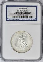 1860 O SEATED LIBERTY HALF DOLLAR SHIPWRECK SS REPUBLIC NGC CERTIFIED COA DVD