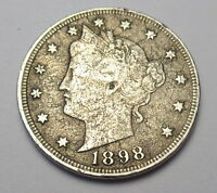 1898 LIBERTY V NICKEL FINE 5 CENT COIN