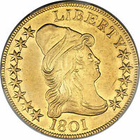 1801 DRAPED BUST 10.00 GOLD EAGLE PCGS UNC DETAILS  MINT STATE COIN