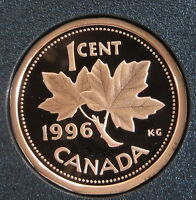 CANADA 1996 MAPLE LEAF PENNY 1 CENT    FROM MINT SET PROOF