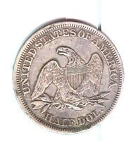 1859 SEATED LIBERTY HAL DOLLAR ABOUT UNCIRCULATED