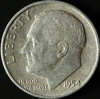 1954 D ROOSEVELT 90 SILVER DIME SHIPS FREE. BUY 3 FOR XTRA AG C1