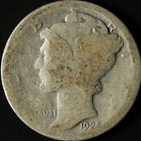 1924 P MERCURY 90 SILVER DIME SHIPS FREE. BUY 3 FOR XTRA SILVER COIN C3