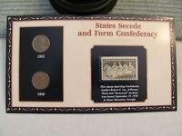 STATES SECEDE COIN COVER W/ 1955/1956 WHEAT CENTS & 1970 6 CENT STAMP