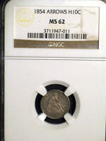 1854 H10C W/ARROWS NGC  MS 62 TONED