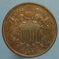 1864 LARGE MOTTO TWO CENT PIECE - HIGH GRADE BROWN COIN