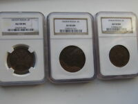 1858 1860 1865 LOT OF 3 RUSSIAN COPPER NGC XF AU