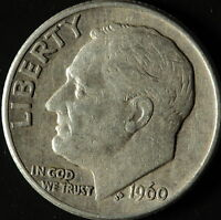 1960 D ROOSEVELT 90 SILVER DIME SHIPS FREE. BUY 3 FOR XTRA AG C3