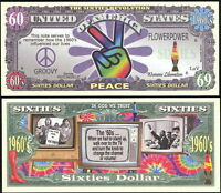 1960'S PEACE SIXTIES DOLLAR $ NOVELTY COLLECTOR BILL NOTE W/PROTECTOR