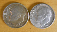 TWO ROOSEVELT DIMES 1962 D  AND 1964 D