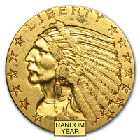 $5 INDIAN GOLD HALF EAGLE XF  RANDOM YEAR    SKU 7229