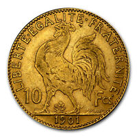 1899 1914 FRANCE GOLD 10 FRANCS ROOSTER AVG CIRC   SKU 25990